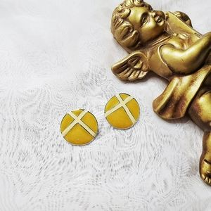 Vintage Mustard Enamel Earrings